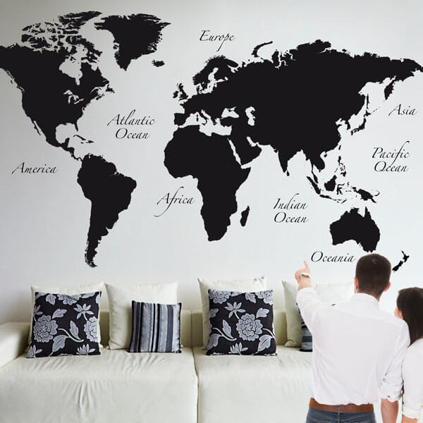 81105 Black World Map