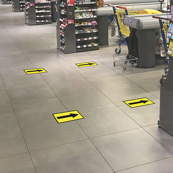 Empty space in front of cash desks in a supermarket